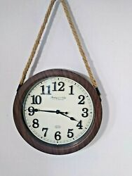 STERLING & NOBLE 11.5 ROUND WALL CLOCK WOVEN HANGING ROPE QUARTZ