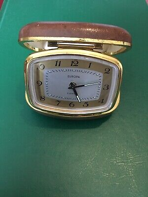 Vintage EUROPA Wind Up 2 JEWELS Travel ALARM CLOCK in HARD CASE