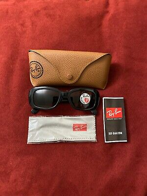 Ray-Ban Rb 4122 Polarized Sunglasses Flat Oval Black Gloss Brown Lens Authentic