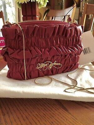 Rare! NWT Betsey Johnson Leather pink ruffle Mini crossbody Chain Strap