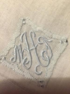 VINTAGE LINEN HANDKERCHIEF Hanky  BRIDAL WEDDING White with BLUE  M T H MONOGRAM