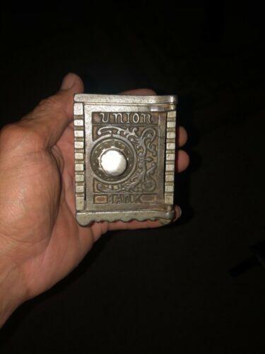 Antique Kenton union safe nickel plated bank. 20s