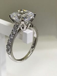 4ct cushion cut delicated diamond solitaire engagement ring 14k white gold over - Wedding Rings On Ebay