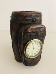 Vintage Heavy Resin Golf Bag Desktop Clock With Pen Holder 6 Tall