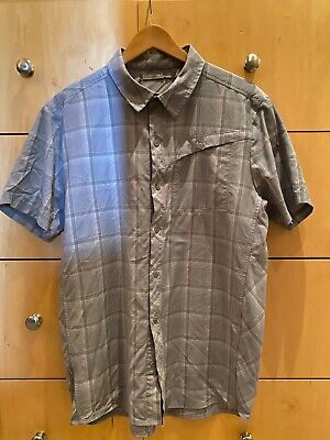 Icebreaker Mens L Button Down Short Sleeve Merino Wool Shirt