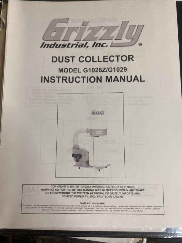 Grizzly Dust Collector Model G1028Z/G1029 Intruction Manual revised 2002