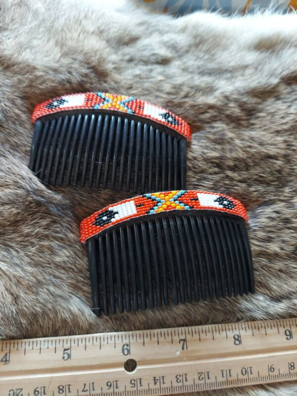 Native American Styled Beaded Hair Combs