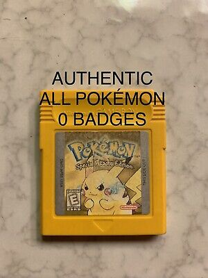 Pokemon Yellow Version Authentic All 151 Game Boy Color 0 Badges