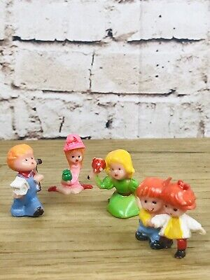 Vintage Hard Plastic Miniatures Figurines Kids Garden Topper Diorama Hong Kong  - Hard Plastic Figurines