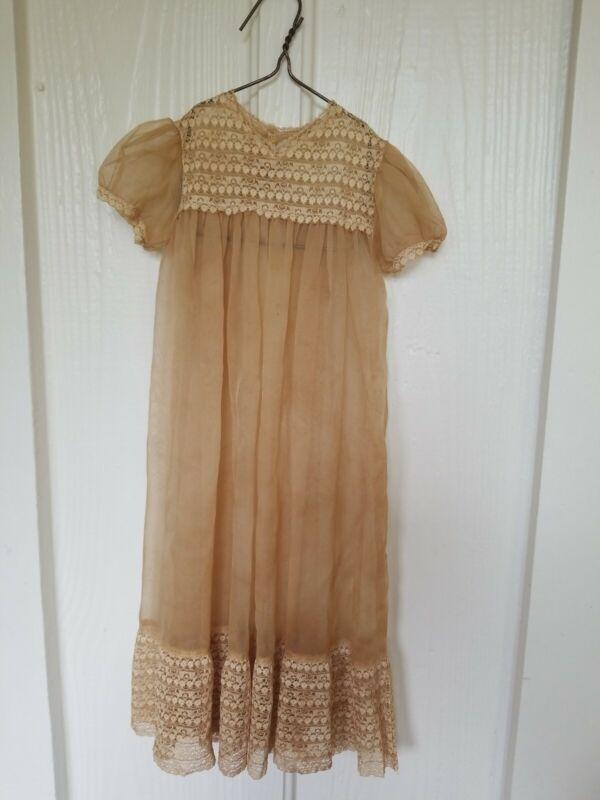 Vintage Antique Christening Baby Dress Gown Heirloom Lace Brown Beige