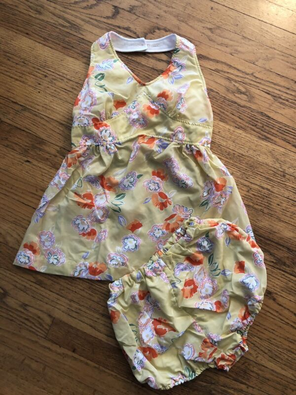Vintage 1970s Flower Print Halter and Bloomers Playsuit Swimsuit Size XS/S