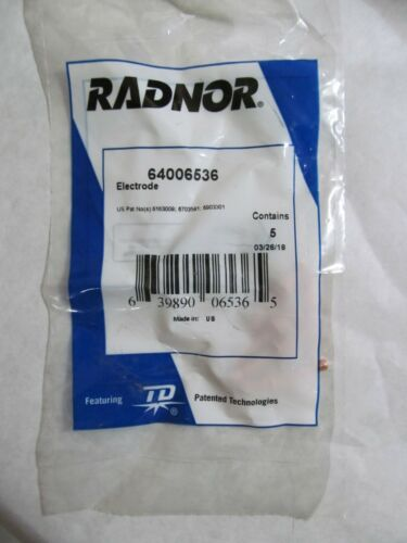 NEW Radnor 5pc BAG 64006536 Electrodes for Radnor MasterCut MC40 Plasma Torch