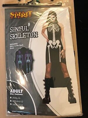 Spirit Halloween Sinful Skeleton Adult Costume New in Package 3 Sizes Available](Spirit Halloween Costume)