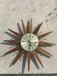 MID CENTURY SETH THOMAS CLOCK  STARBURST STARBRIGHT 2156-000