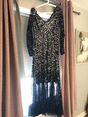jenny packham navy and silver dress size 12