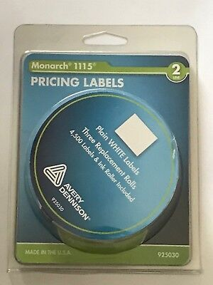 Monarch 1115 2 Line Pricing Labels Plain White 3 Replacement Rolls Ink Roller