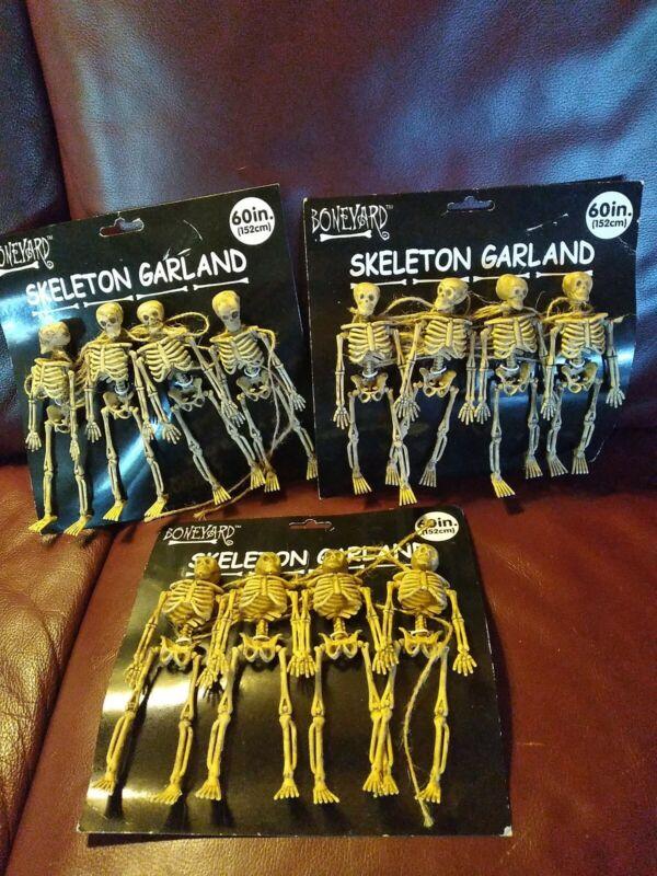 "3 Sets -4 HANGING SKELETON GRAVEYARD GARLAND 60"" HALLOWEEN PARTY DECORATION PROP"