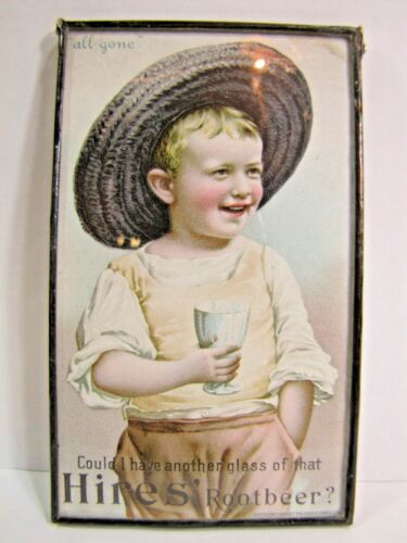 1890s HIRES ROOTBEER Advertising Trade Card Sign Ad Framed Under Glass Soda