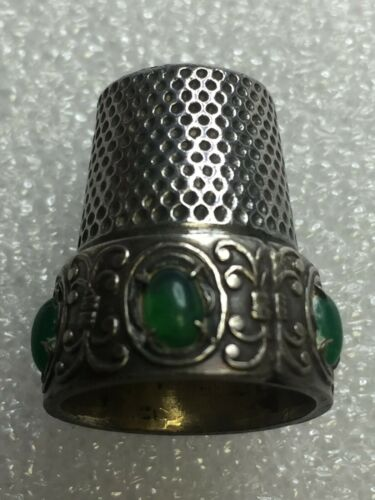 Vintage .925 Sterling Silver Thimble w/ Emerald Cabachons