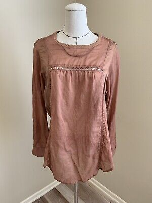 Isabel Marant Etoile Cotton Silk Crochet Top Tunic Shirt Blouse sz 2 Small Crochet Silk Cotton Top