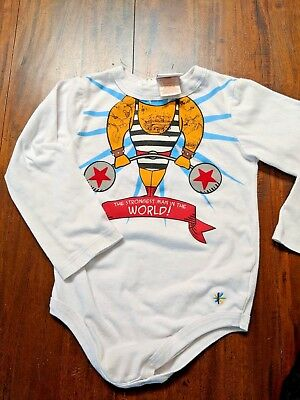24 Month Strong Man Iron Man Weightlifting Baby One Piece L/S Truly Scumptious - Iron Man Baby