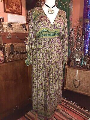 vintage indian silky Boho Midi /70s  Dress/art Deco peacock feather Print 14/16