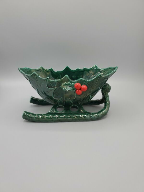LEFTON  Vintage Christmas Holly Berry Holiday Green Sleigh  #1346 Japan