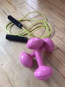 Skipping rope and weights