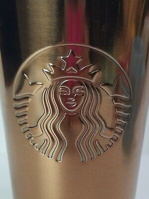Starbucks Stainless Steel Travel Mug 16 oz Rose Gold Copper Color Mermaid Logo