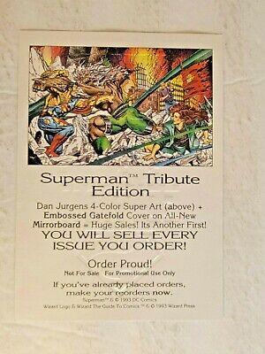 Rare Superman Tribute Edition Silver Foil Embossed Promo Sheet - Wizard 1993