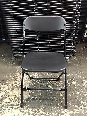 (50) Used Commercial Plastic Folding Chairs Black Stackable Party Rental Chair
