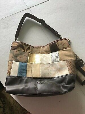 Coach Patchwork Handbag Pre-owned AND Matching Wallet, Brown & Medium