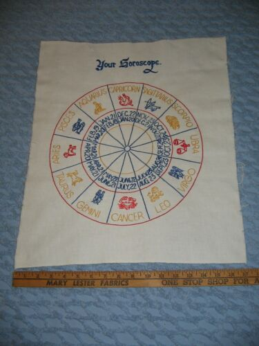 Vintage Zodiac Horoscope Stitchery Embroidery on Linen Completed Finished