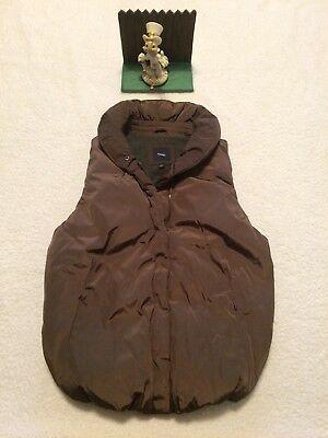 GAP Sz XS Extra Small Fleece Lined Brown Womens Puffer Vest Zip Up.. New Display