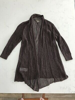 Tommy Bahama Women's Open Front Cardigan Sweater Crochet chocolate brown S Chocolate Brown Cardigan