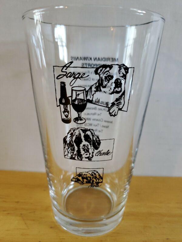 COLUMBUS INDIANA MERIDIAN KIWANIS COOLEST PET BEER GLASS W/ PARTNERS & SUPPORTER