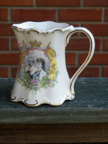 "Antique 4"" Cup-Edward VII & Alexandra Coronation Souvenir-Picture-Gold Trim"