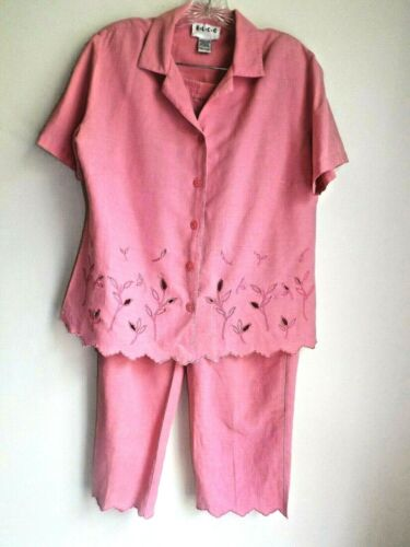 E.L.C.C. 2-pc Med cropped pant set pink silk linen blend cutwork embroidery EUC