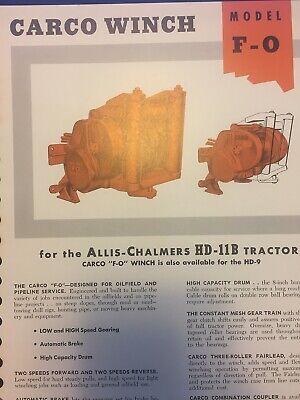 Carco Winch Model F-o Fo Brochure Allis Chalmers Hd-11b Hd-9 Crawler Bulldozer