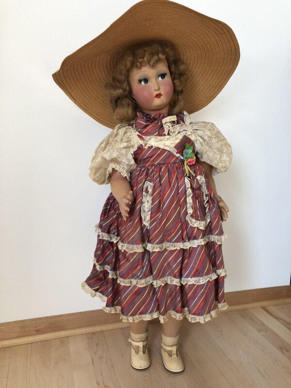 "Vintage Italian 34"" Alfredo Zellini Norina Walking Doll Original Box Flirty Eyes"