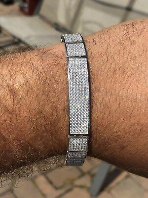 Mens Custom Made ICY Hip Hop Bracelet 925 Sterling Silver Diamond Rapper ICY Custom Made Sterling Silver Bracelet