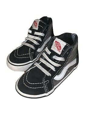 Vans Sk8-Hi Top Zip Shoes Black & Gray Toddler Sz. 6