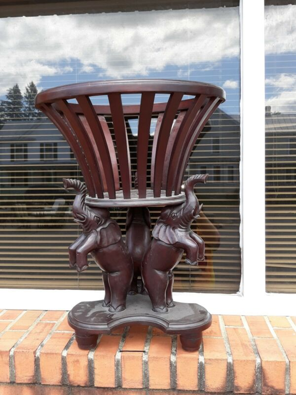 Gorgeous Vintage Carved Wooden Standing Elephants Plant Stand Beautiful Read