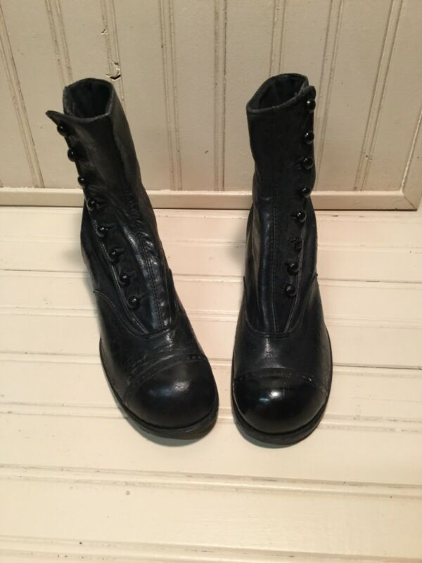 Antique Girl's Black Leather Button-up Ankle Boots Vintage Display Little House