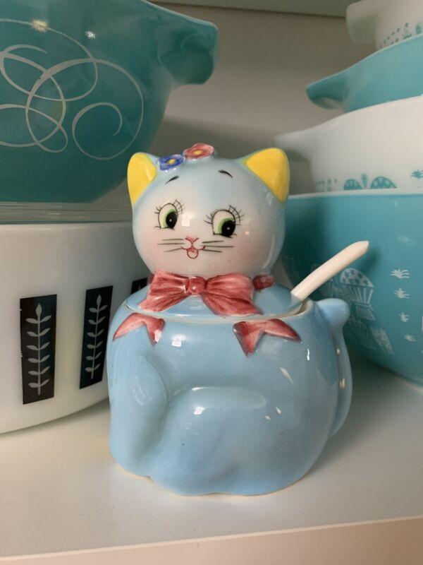 Norcrest Blue Kitty Sugar Bowl Or Condiment Jar