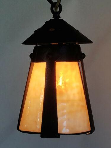 Antique Mission Arts & Crafts Bungalow Hanging Light Fixture iron & slag glass