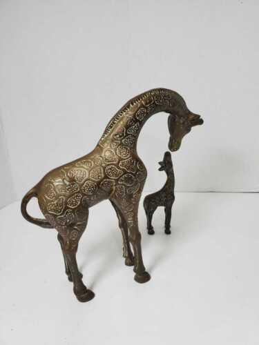 VTG Mid Century Brass Figurines - Mother & baby Giraffes