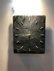 Wall Clock Slate UNIQUE Modern Contemporary Kitchen Dining Handmade Study Office