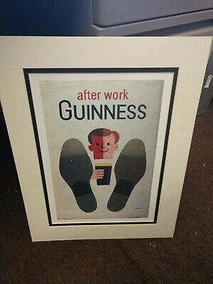 Vintage Guinness Poster Matted 16.5x22 Inches