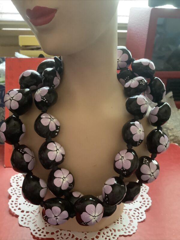 Hawaiian kukui nut lavender flowered necklace